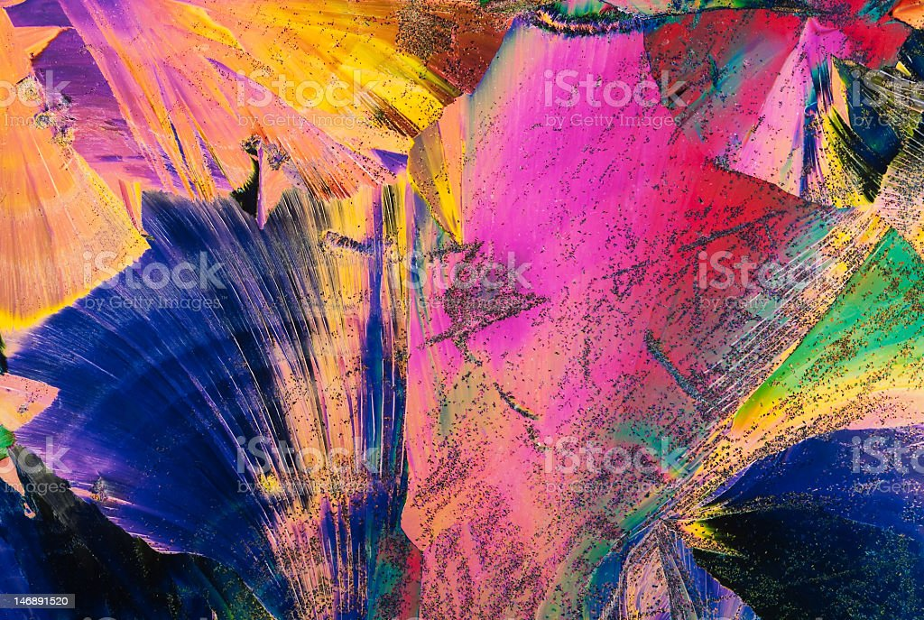 Light polarization through the crystal of chemicals royalty-free stock photo