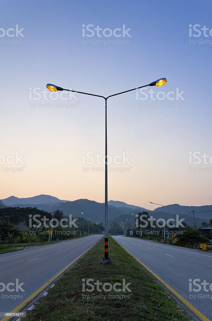 Light pole on the highway stock photo