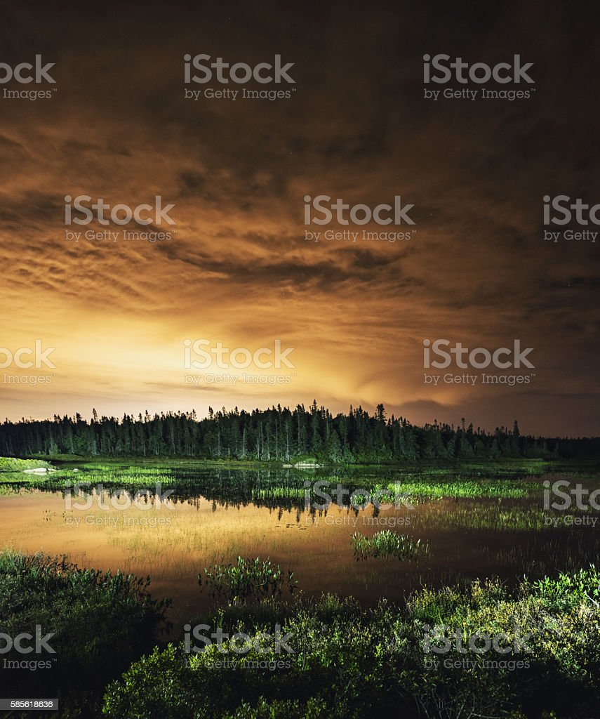 Light Polluted Lake stock photo
