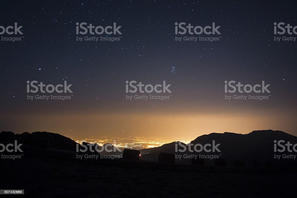 Light pollution and Pleiades royalty-free stock photo