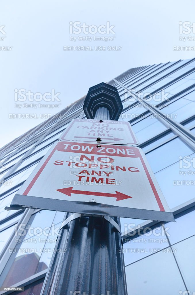 Light post with signs stock photo