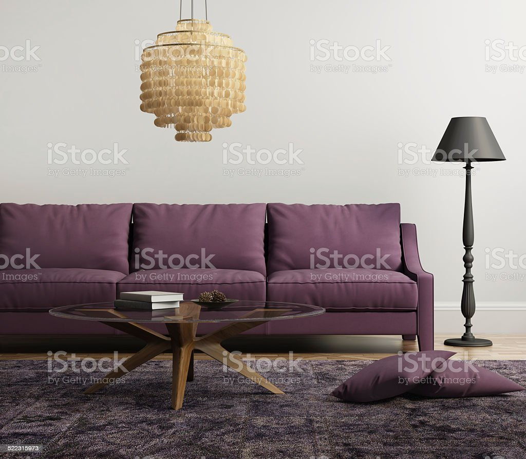Light purple elegant stylish living room stock photo