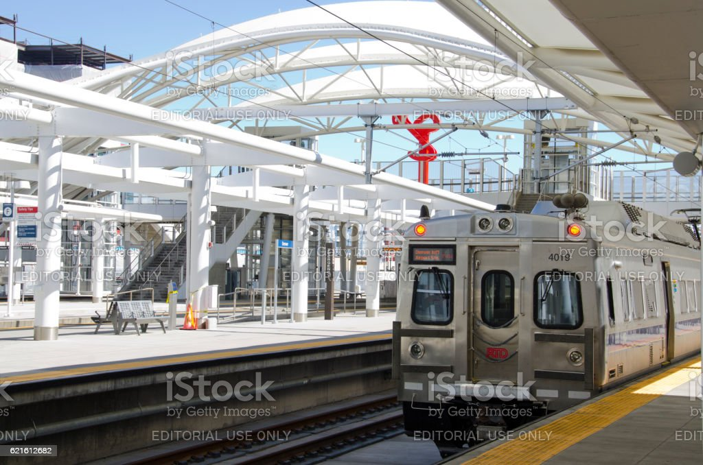 Light Rail at Union Station in Denver, Colorado stock photo