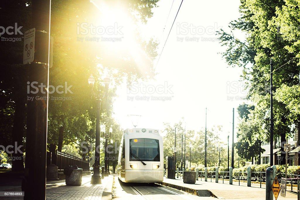 Light Rail Commuting in Portland stock photo