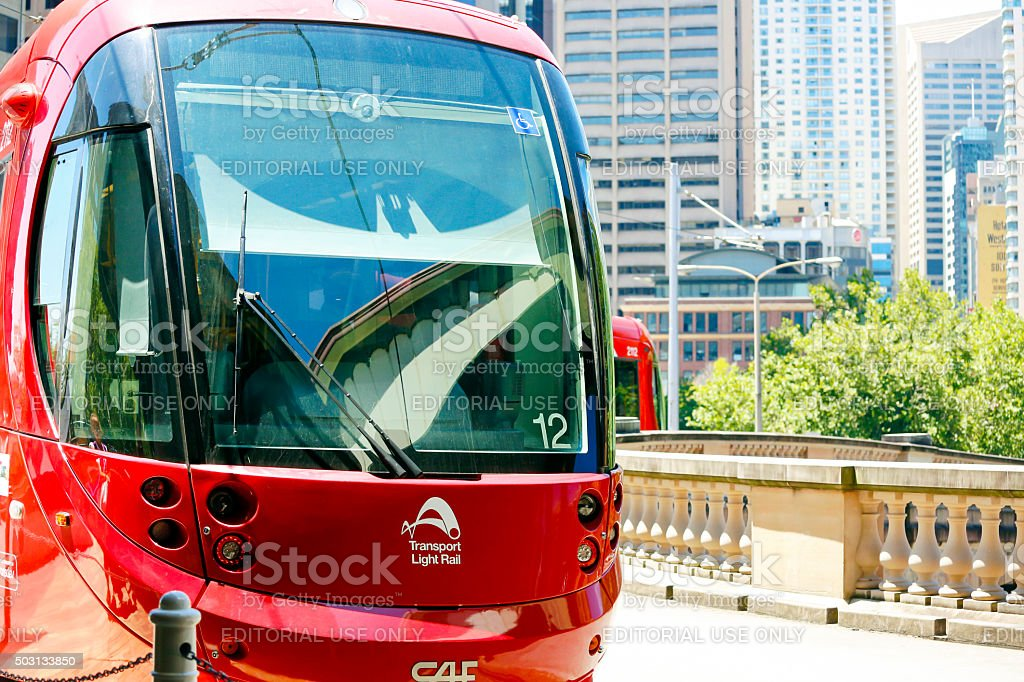 Light Rail train departing from Central Station in Sydney Australia stock photo