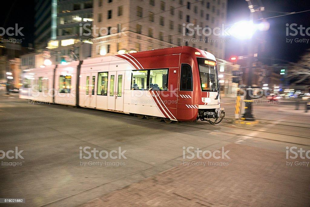 Light Rail Train Downtown Salt Lake City Utah at Night stock photo