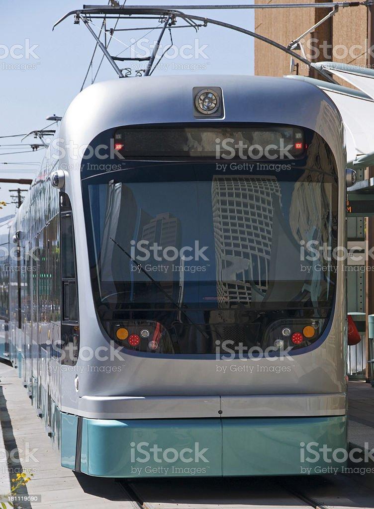 Light rail train in downtown Phoenix AZ royalty-free stock photo