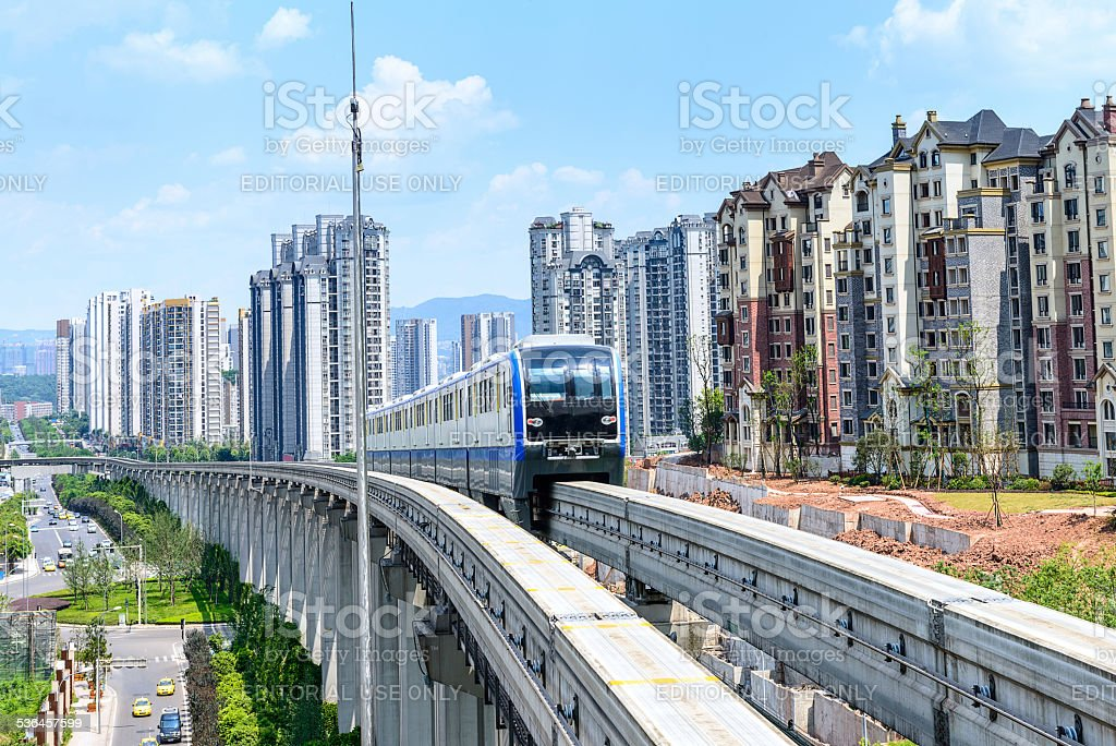 light rail train on track in Chongqing stock photo