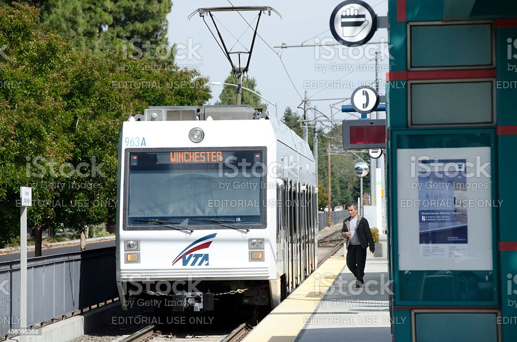 light rail train public transportation, California stock photo