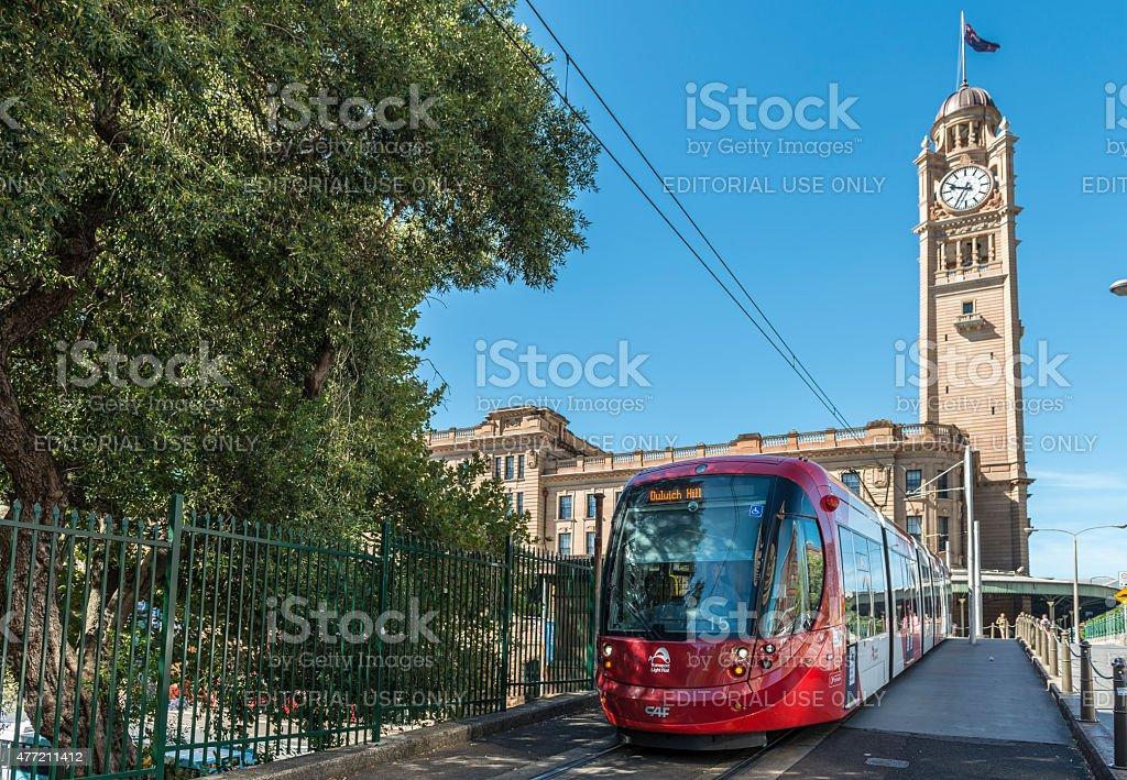 Light Rail Tram leaving Sydney Central Railway Station, Australia stock photo