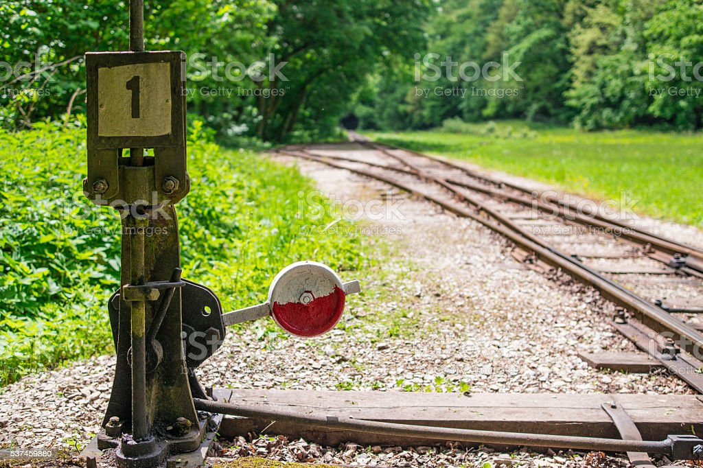Light railway switch stock photo