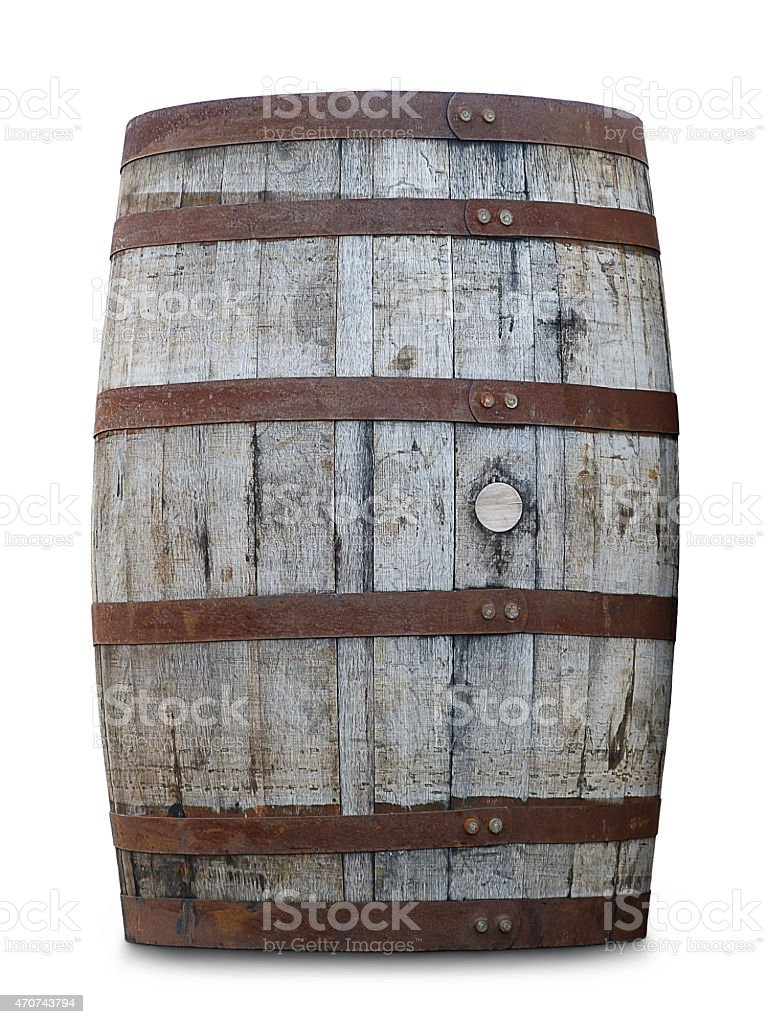 Light Rustic Oak Wine Barrel Isolated On White stock photo