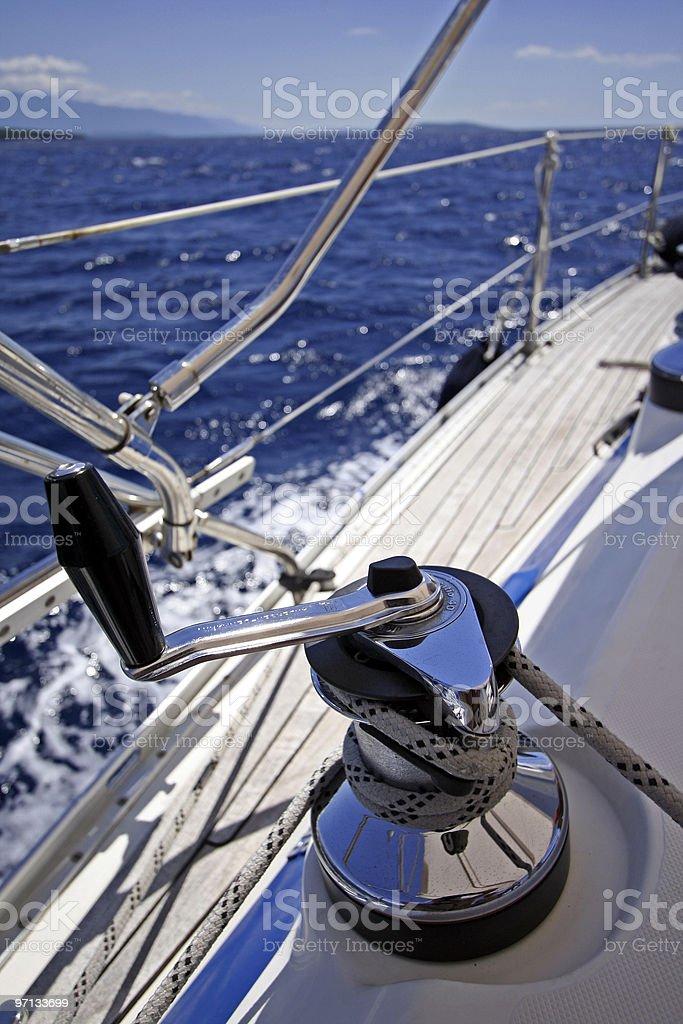 light sailing winch stock photo