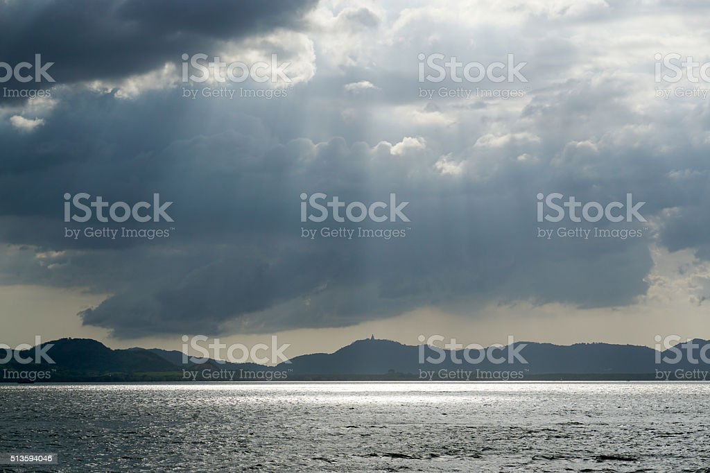 Light Shaft on Sea, Phuket, Thailand stock photo