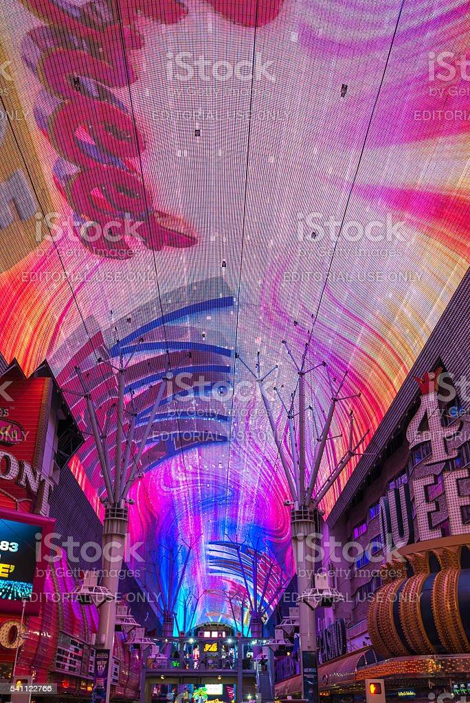 light show at Fremont Street Experience,las vegas,Nevada,usa stock photo