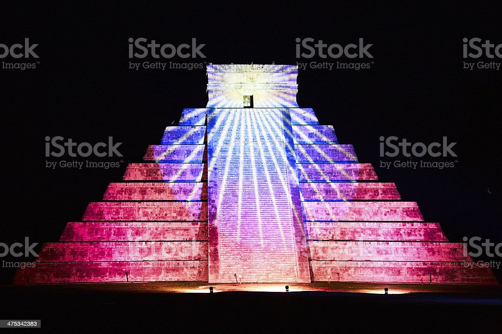 light show at night on Chichen Itza, Mexico stock photo