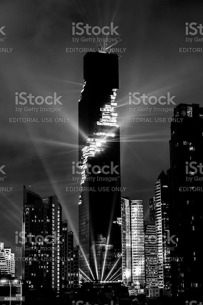 Bangkok, Thailand- August 29, 2016: Light show of Mahanakhon building. stock photo