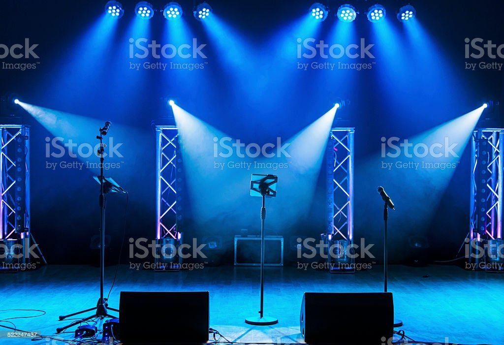 Light show on empty stage stock photo