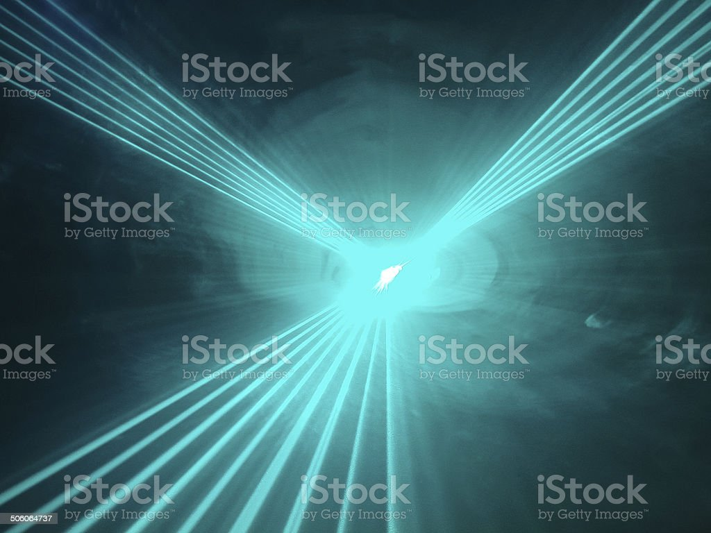 Light show rays  in disco club stock photo