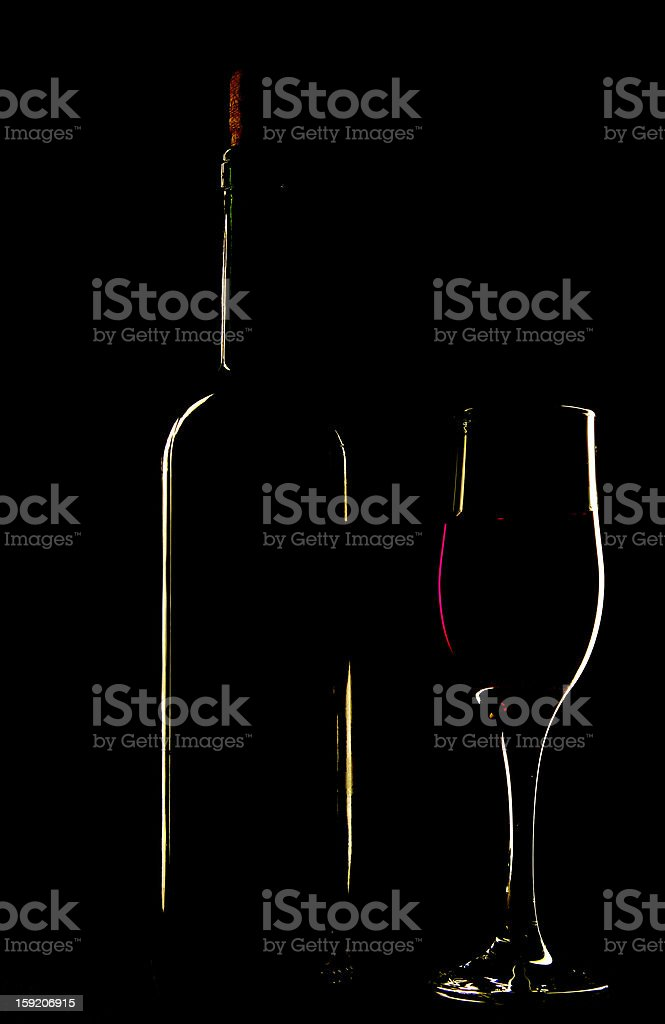 light silhouette of bottle and wineglass royalty-free stock photo