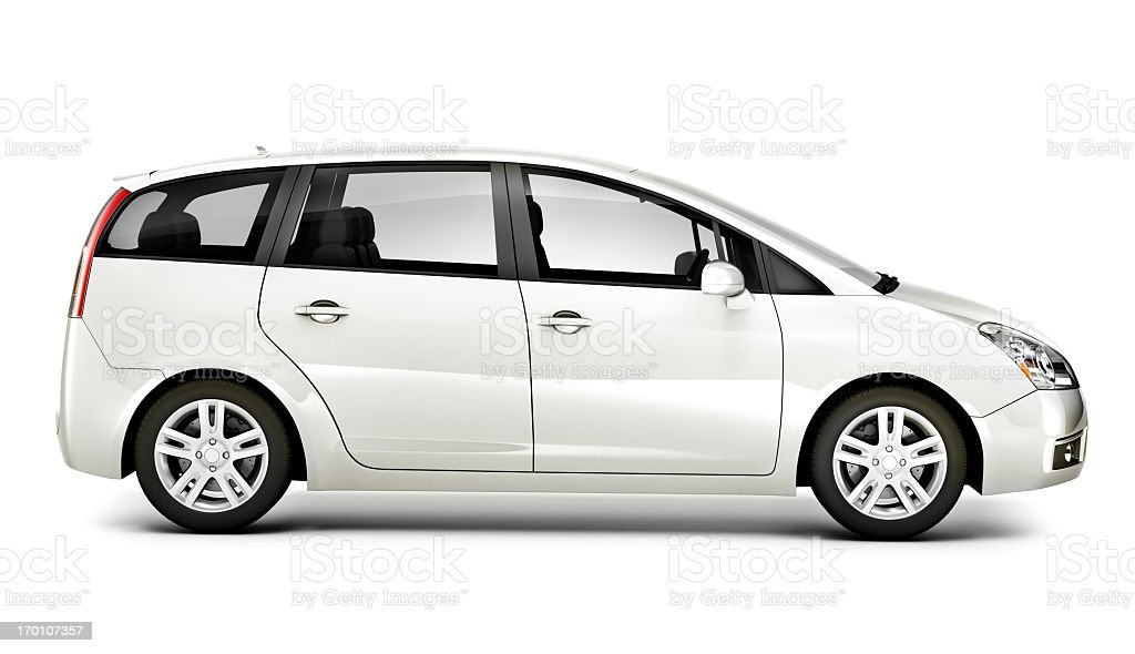 Light silver spacious car on a white background stock photo
