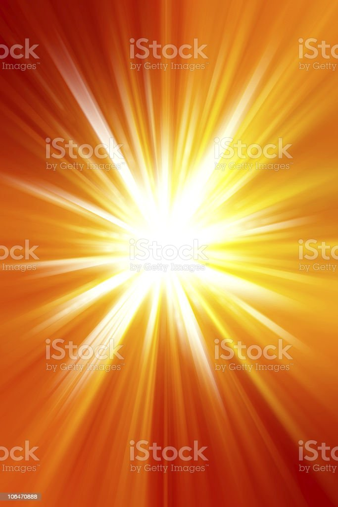 Light source shining through an orange and yellow background stock photo