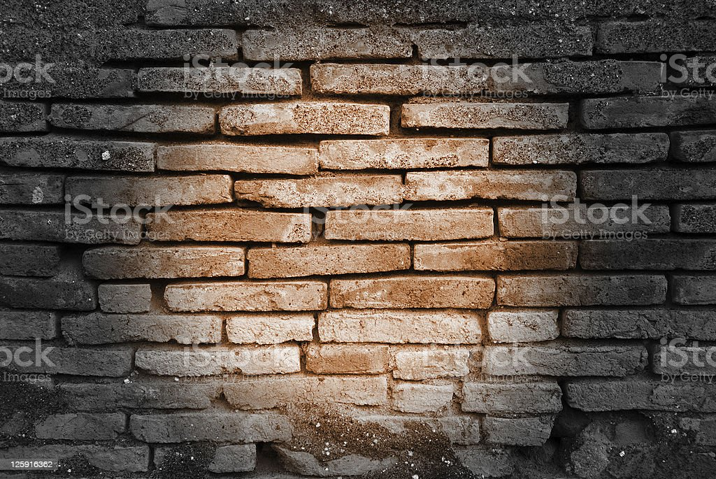 Light spot on a wall of red bricks royalty-free stock photo