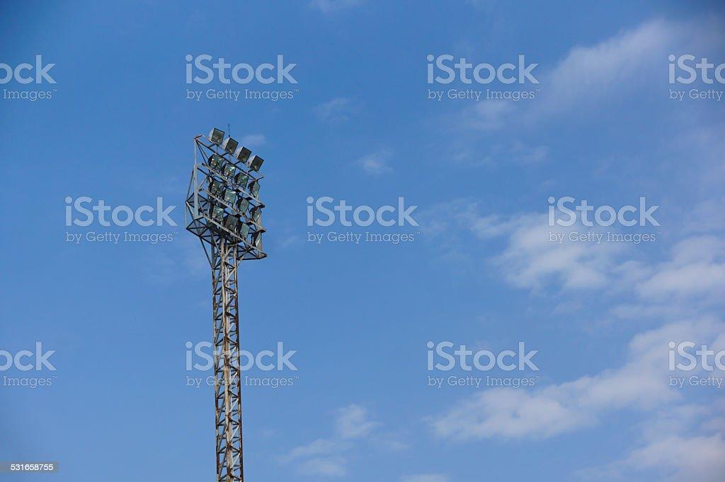Light stadium or Sports lighting against blue sky stock photo