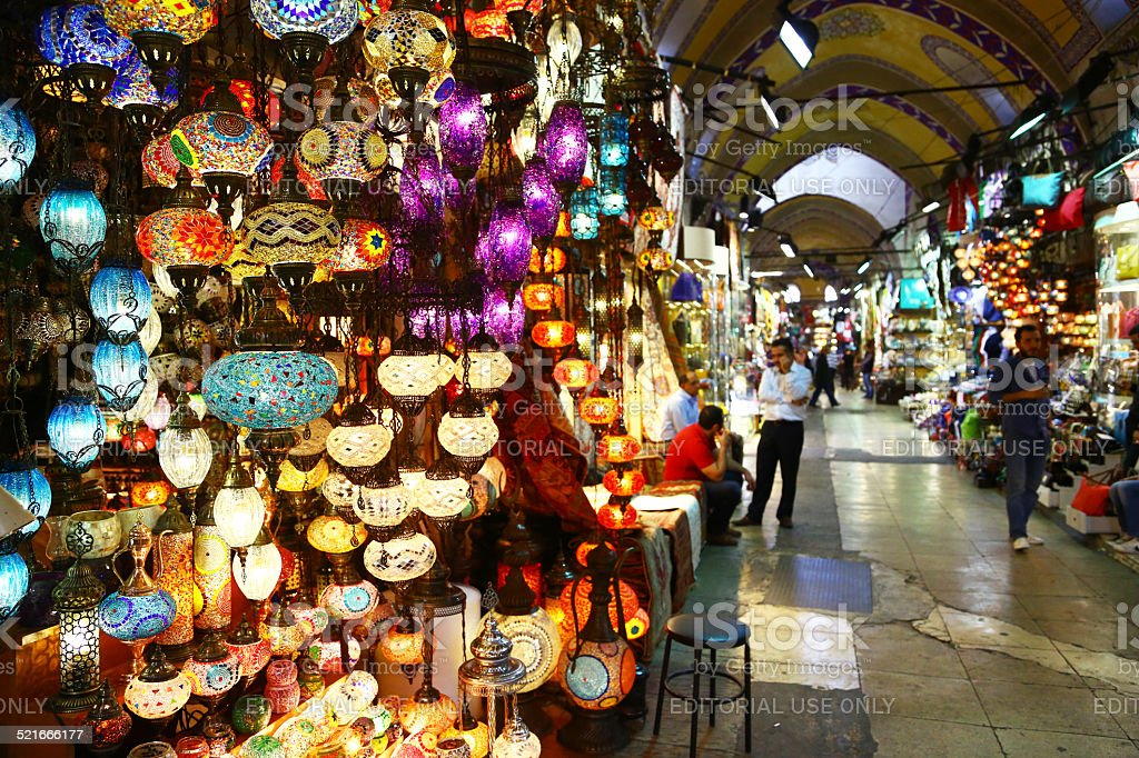 Light store in Grand Bazaar of Istanbul, Turkey stock photo