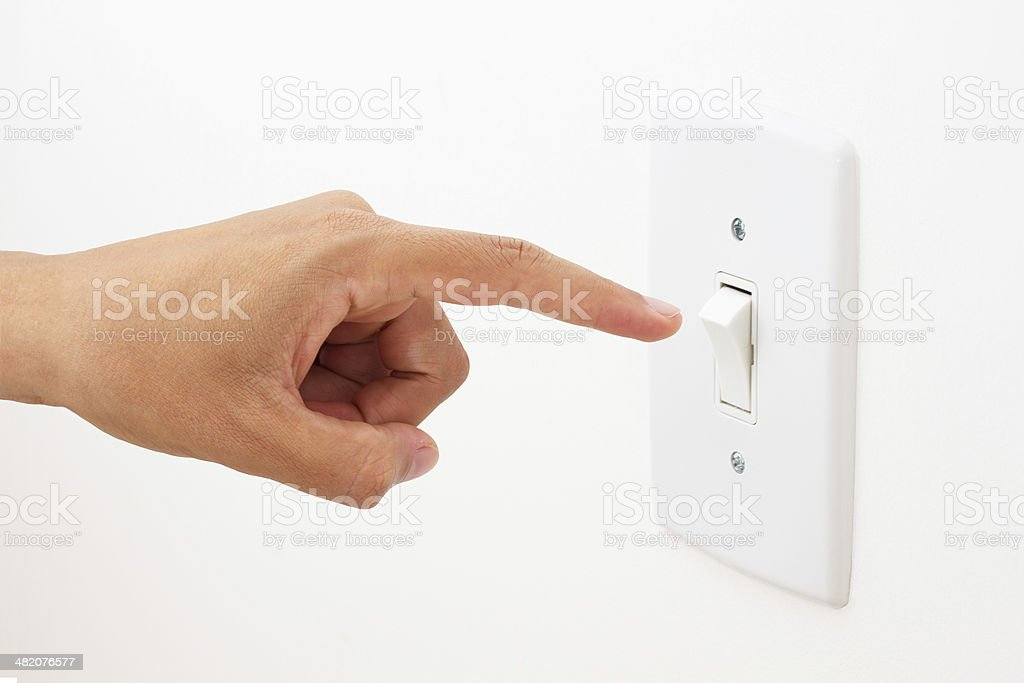Light Switch on White stock photo