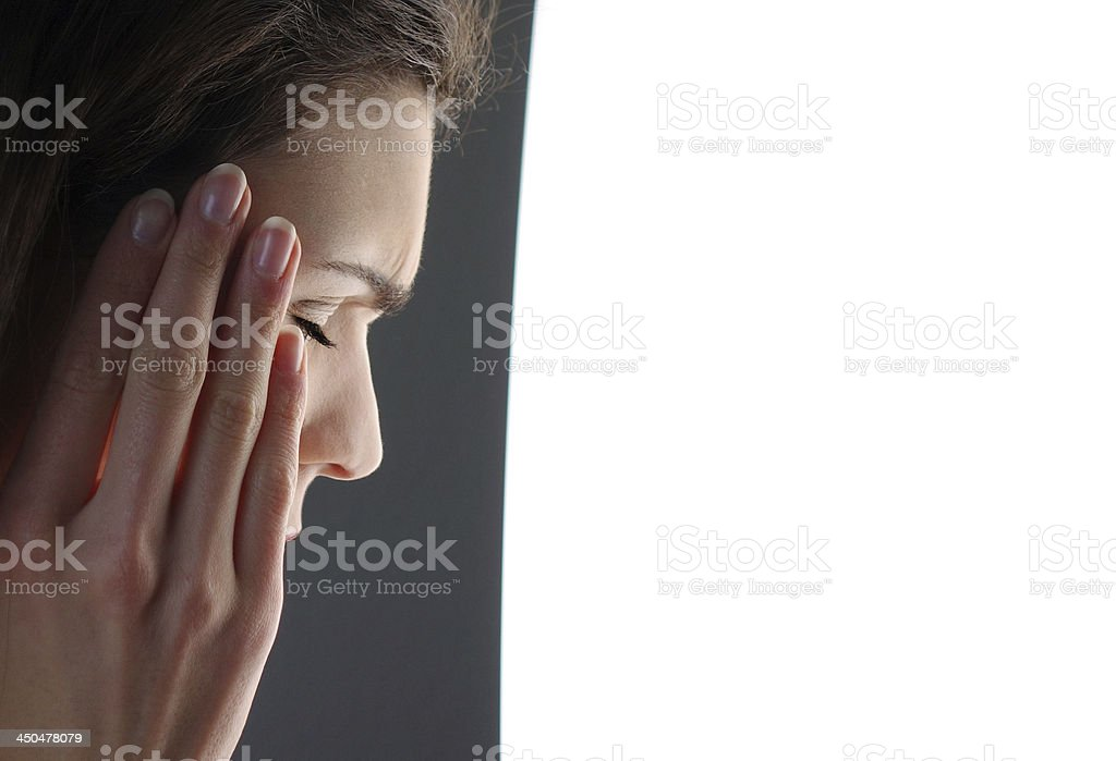Light therapy against headache stock photo