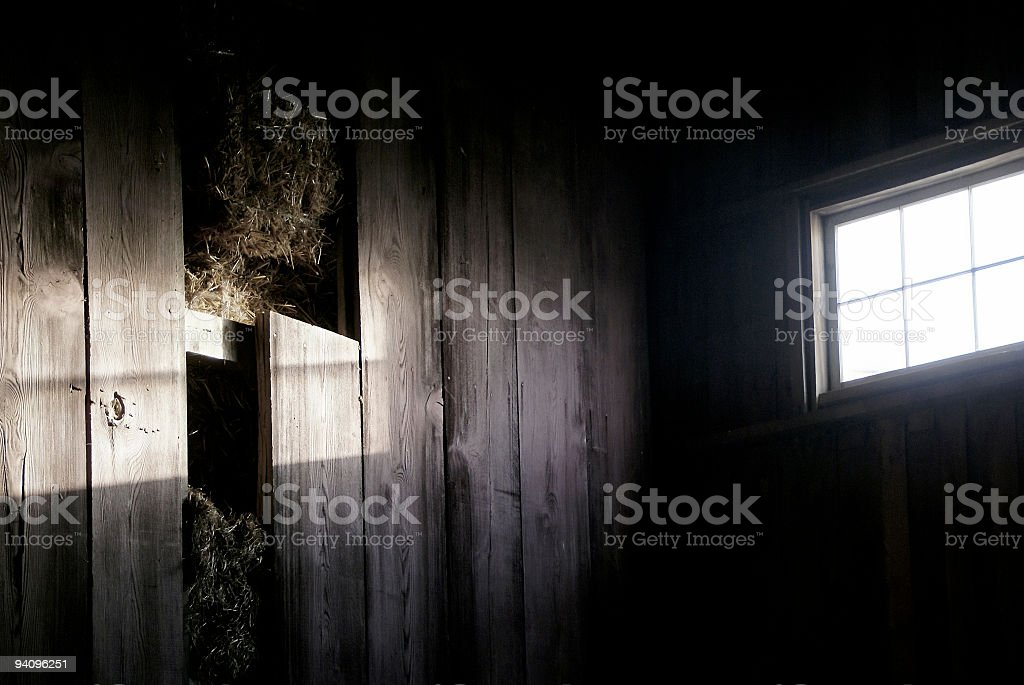 light through barn window stock photo