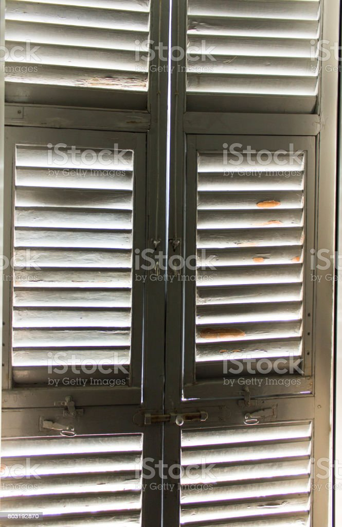 Light through wooden old window stock photo