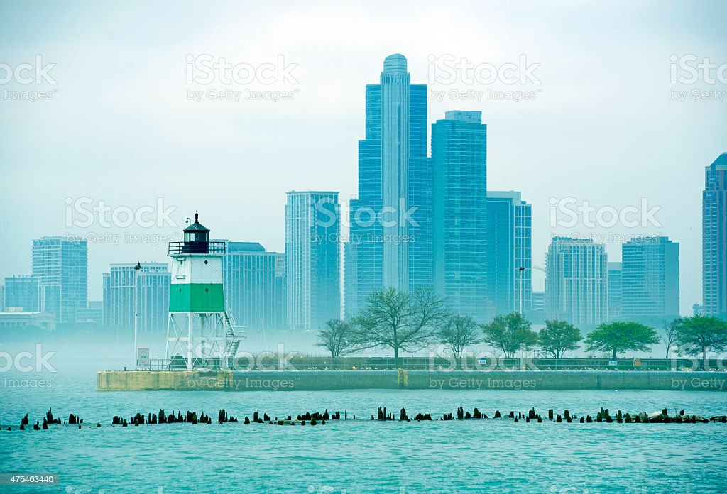 Light tower on pier of Lake Michigan in Chicago IL stock photo