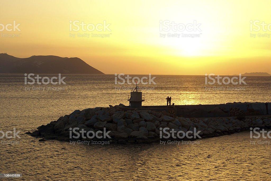 Light tower on the sea shore in Turkey stock photo