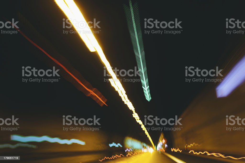 Light traces in a long tunnel royalty-free stock photo