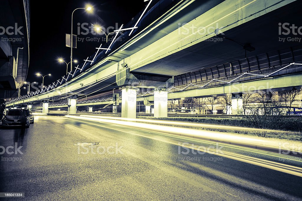 light traces on traffic junctions at night royalty-free stock photo