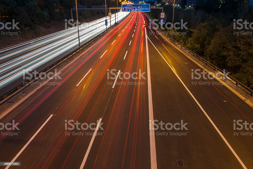 Light tracks on the highway in Berlin stock photo