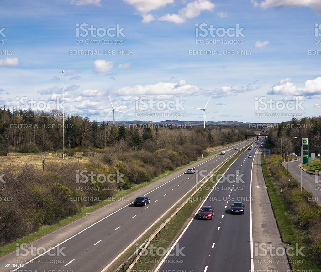 Light traffic on the M8 motorway between Edinburgh and Glasgow stock photo