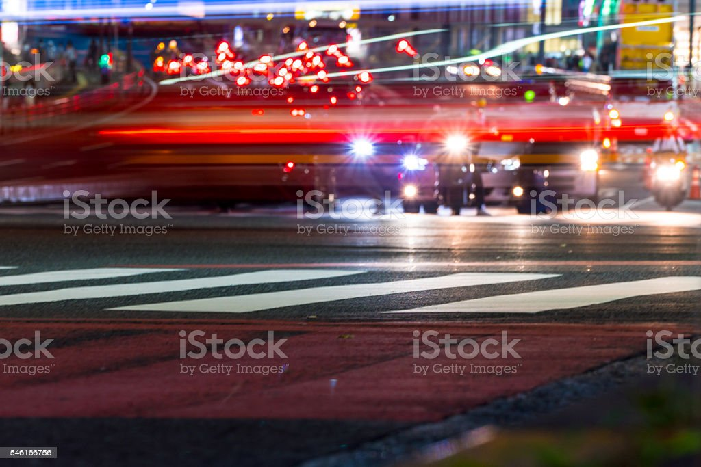 Light trail of cars stock photo