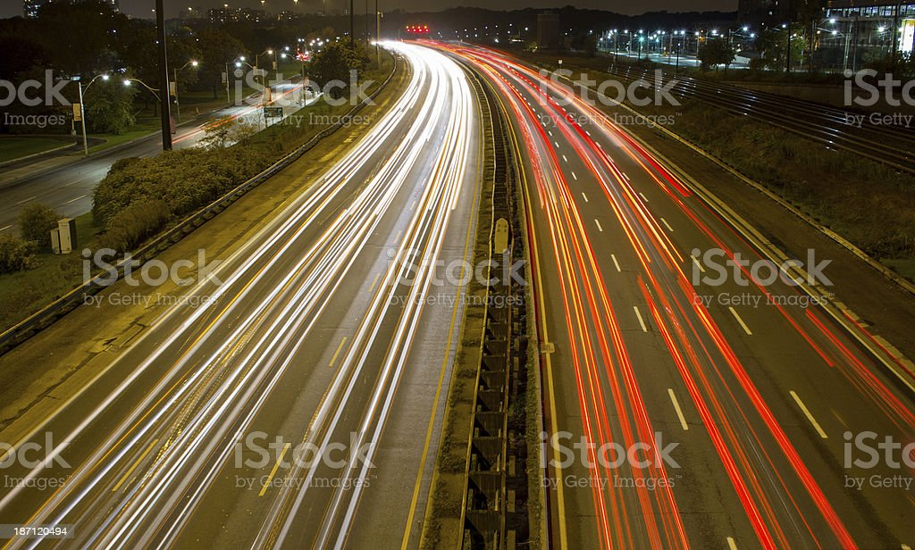 Light trail on a busy motorway stock photo