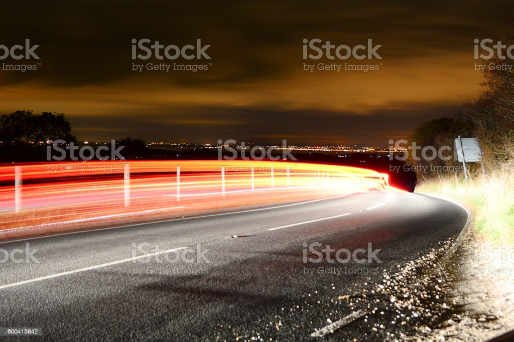 Light Trails and City Skyline stock photo