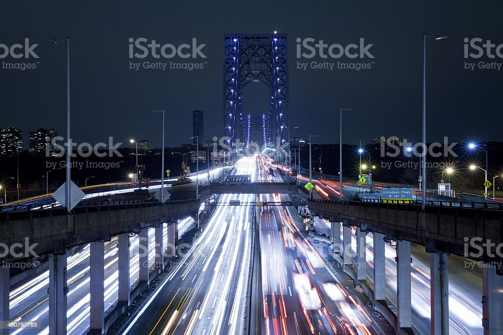 Light Trails at George Washington Bridge stock photo