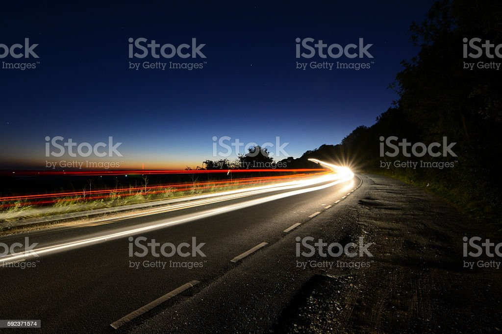 Light Trails at Night stock photo