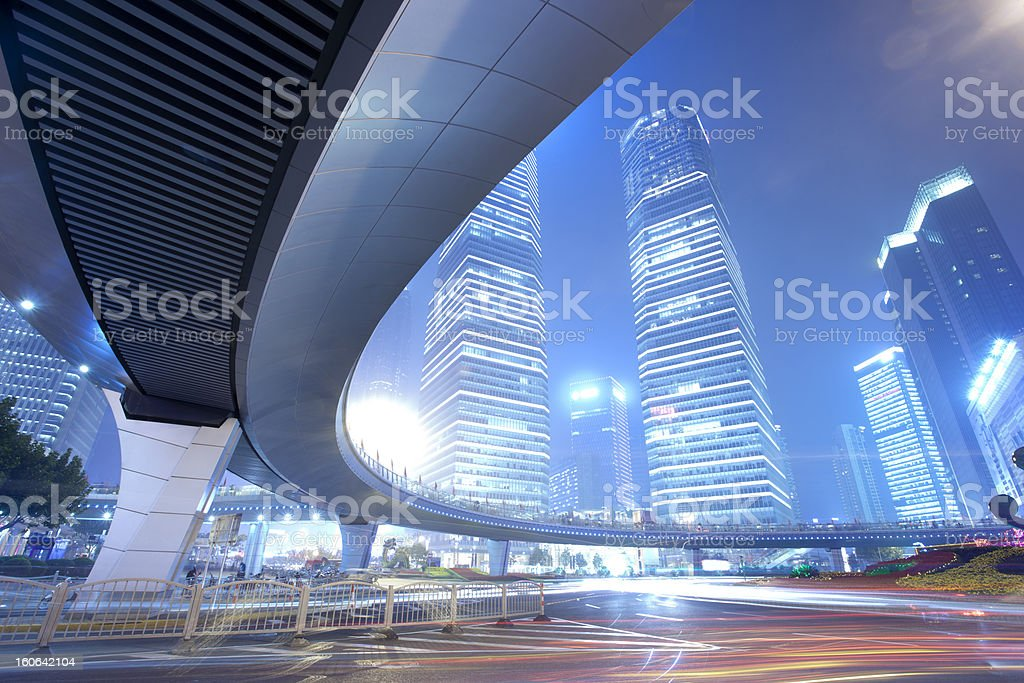 light trails at shanghai finance distric,Lujiazui royalty-free stock photo