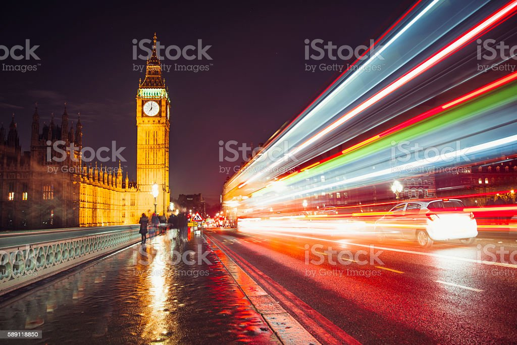 Light trails by the Big Ben stock photo