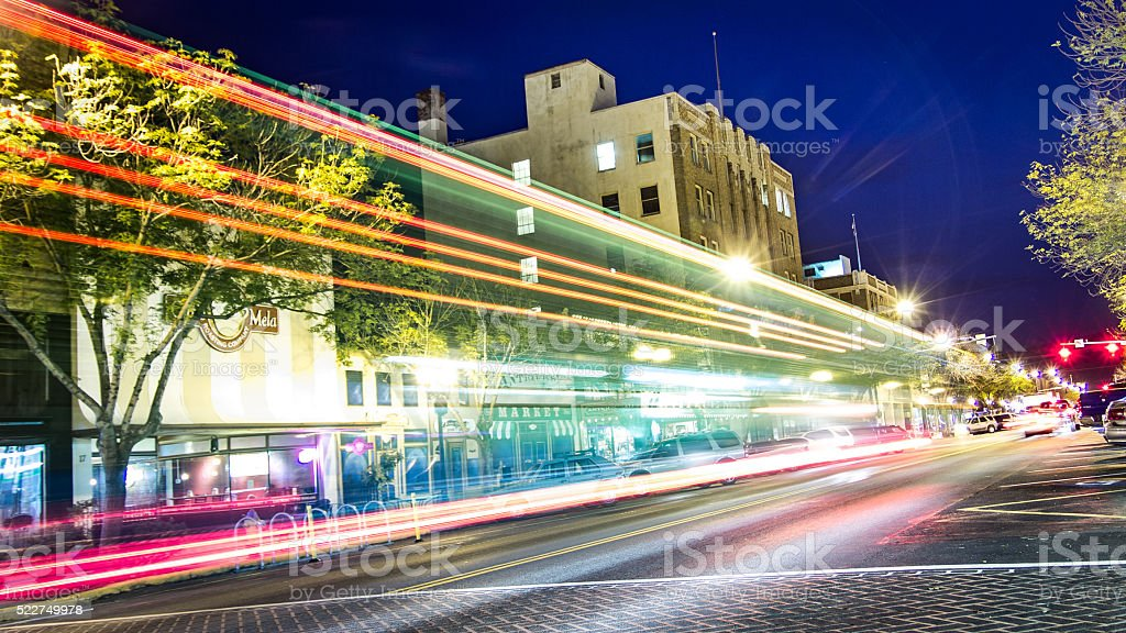 Light Trails From Cars on a Street at Night stock photo