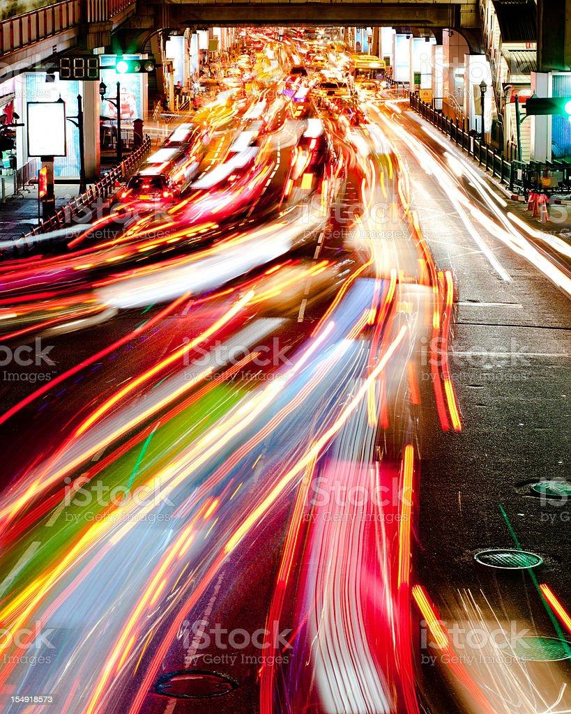Light Trails from Traffic, Bangkok stock photo