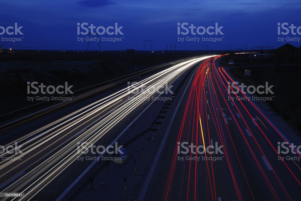 light trails highway royalty-free stock photo
