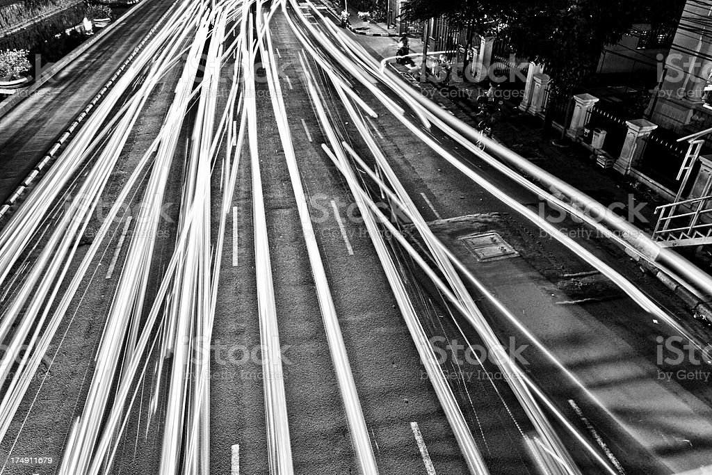 Light Trails in Busy Street at Night royalty-free stock photo
